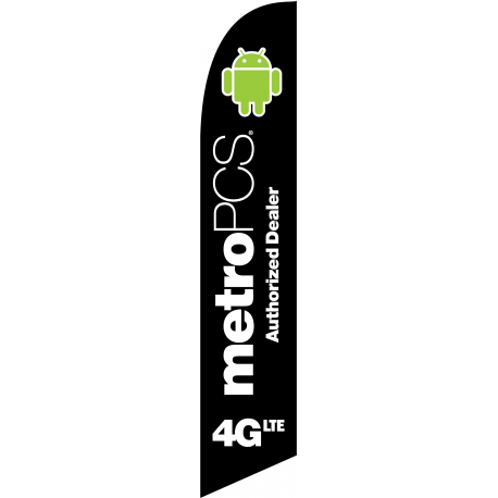 MetroPCS 4GLTE Feather Flag Black 12ft Poly Knit width=