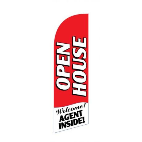 Open House Flag Kit Red Large-print With Pole And Spike Sre-9001 width=