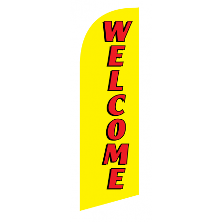 Welcome Flag Kit Yellow With Pole And Spike Sre-9023 width=