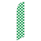 green-white checkered feather flags