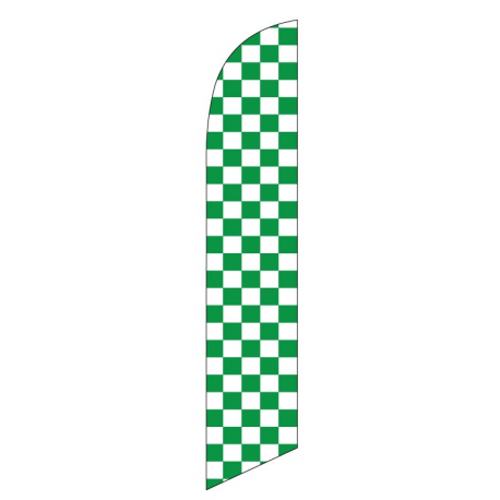 green-white checkered feather flags width=