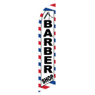 Barber Shop Feather Flag R&W&B 12ft Poly Knit