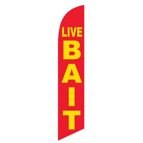 Live Bait Feather Flags Red & Yellow 12ft Poly Knit width=