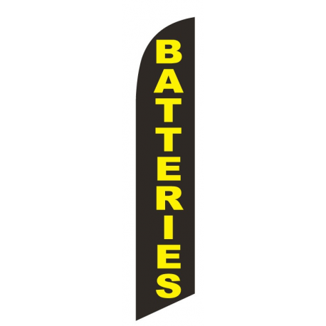 Batteries Feather Flag Black & Yellow 12ft Poly Knit width=