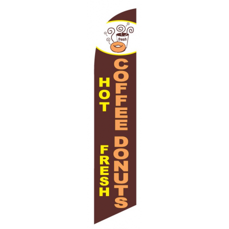 Hot Coffee Fresh Donuts Feather Flag Brown 12ft Poly Knit width=