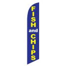 Fish & Chips Feather Flag Blue & Yellow 12ft Poly Knit