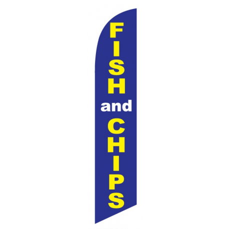 Fish & Chips Feather Flag Blue & Yellow 12ft Poly Knit width=