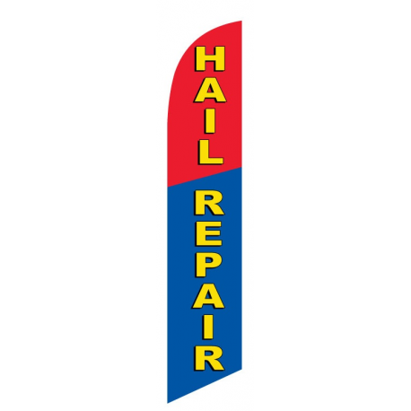 Hail Repair Feather Flag Blue & Red 12ft Poly Knit width=