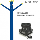 Blue Wind-Wiggler Air Dancing Man - 20ft Kit Includes Blower