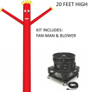 Red Wind-Wiggler Air Dancing Man - 20ft Kit Includes Blower