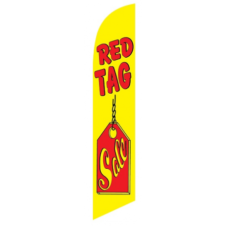 Red Tag Sale Feather Flag Yellow & Red 12ft Poly Knit width=