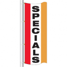3x8 drape flag - style sp specials - single sided - colors are red, white center panel, spanish yellow, grommets on the top and