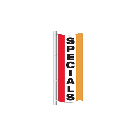 3x8 drape flag - style sp specials - single sided - colors are red, white center panel, spanish yellow, grommets on the top and width=
