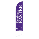Celebrate Easter Feather Flag Purple 12ft Poly Knit