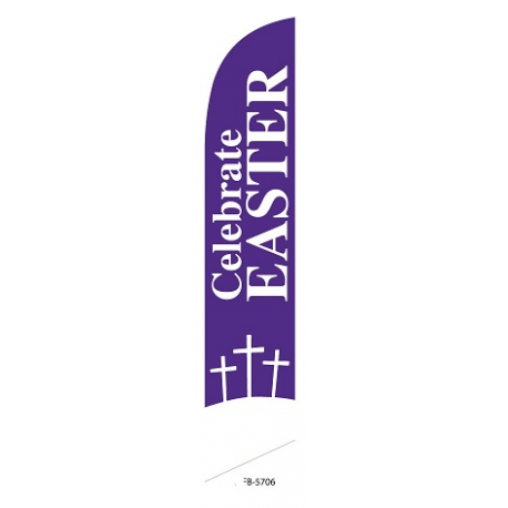 Celebrate Easter Feather Flag Purple 12ft Poly Knit width=