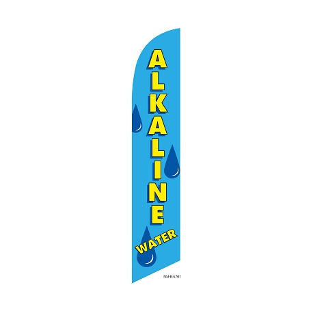 Alkaline Water Feather Flag Blue 12ft Poly Knit width=