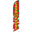 Cash for your phone Feather Flag Red & Green 12ft Poly Knit