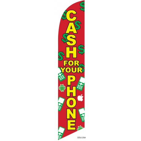 Cash for your phone Feather Flag Red & Green 12ft Poly Knit width=