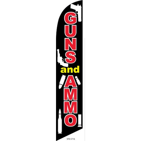 Guns & Ammo Feather Flag Black &Red 12ft Poly Knit width=
