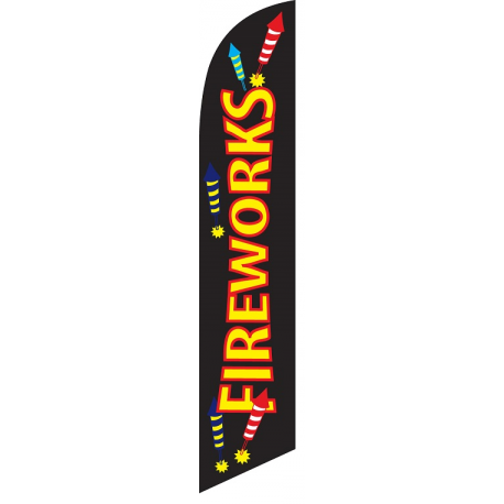 Fireworks Feather Flag 12ft Poly Knit width=