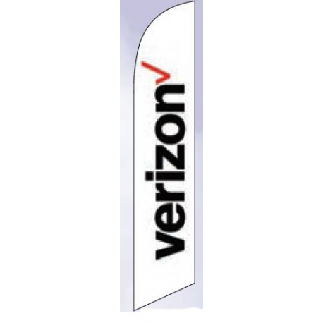 Verizon Feather Flag White 12ft Poly Knit width=