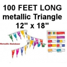 Metallic Triangle 12x18 Pennants 100' Multicolor m-100