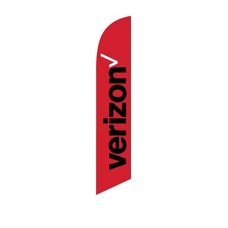 Verizon Feather Flag Red 12ft Poly Knit width=