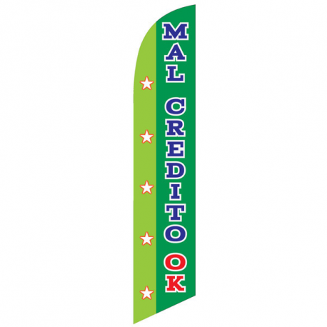 Mal Credito Ok feather flag green width=