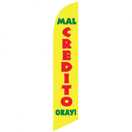 Mal Credito Ok feather flag yellow width=