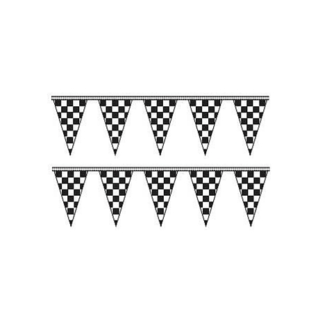 Cloth Checkered Triangle Pennants 50ft width=