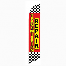 Transmission Repair Feather Flag Red Checkered 12ft Poly Knit width=