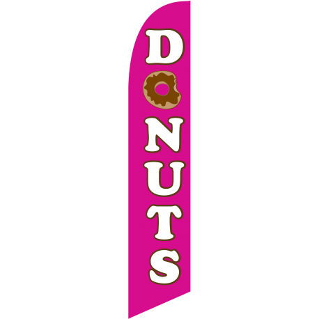 Donuts Feather Flag Pink 12ft Poly Knit width=