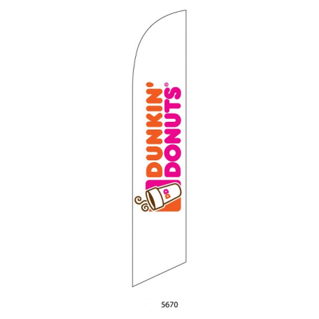 Dunkin Donuts White Feather Flag 12ft Poly Knit width=