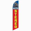 Auto Stereo Feather Flag Blue & Red 12ft Poly Knit
