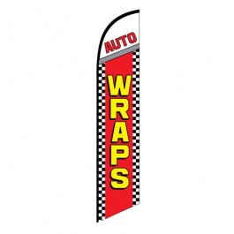 Auto Wraps Feather Flag Red Checkered 12ft Poly Knit width=