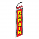 Auto Repair Feather Flag Red Checkered 12ft Poly Knit