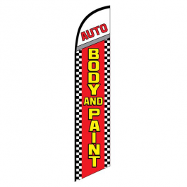 Auto Body and Paint Feather Flag Red Checkered 12ft Poly Knit width=