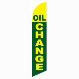 Oil Change Feather Flag Green & Yellow 12ft Poly Knit width=