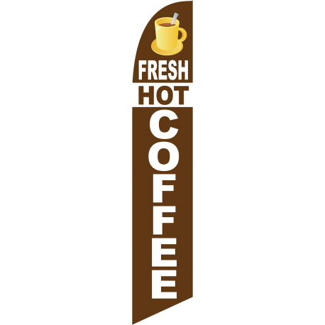 Fresh Hot Coffee Feather Flag Brown 12ft Poly Knit width=