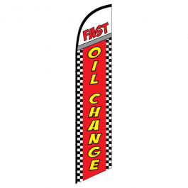 Fast Oil Change Feather Flag Red Checkered 12ft Poly Knit width=