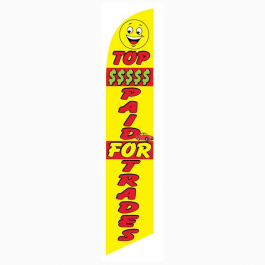 Top Money Paid for Trade Feather Flag Yellow 12ft Poly Knit width=