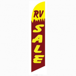 RV Sale Feather Flag Yellow & Maroon 12ft Poly Knit width=