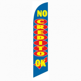 No Credito OK Feather Flag Blue 12ft Poly Knit width=