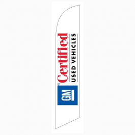 GM Certified Used Vehicles Feather Flag White 12ft Poly Knit width=