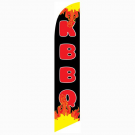 KBBQ Feather Flag Black & Flames 12ft Poly Knit