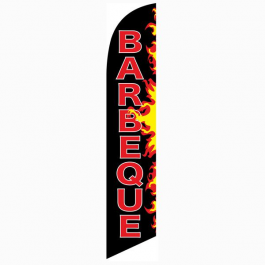 Barbeque Feather Flag Black & Flames 12ft Poly Knit width=
