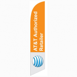AT&T Authorized Retailer Feather Flag Orange & White 12ft Poly Knit width=
