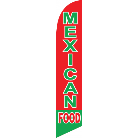 Mexican Food Feather Flag Red & Green 12ft Poly Knit width=