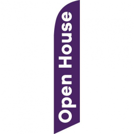 Open House Feather Flag Purple 12ft Poly Knit width=