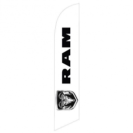 Dodge Ram Feather Flag Black 12ft Poly Knit width=